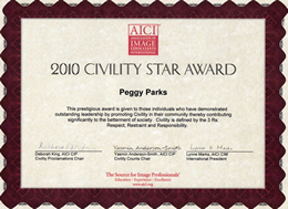 Peggy M. Parks received 2010 Civility Star Award